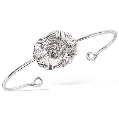 bracelet jonc argent fleur