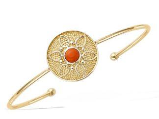 Bracelet jonc plaqué or fleur corail