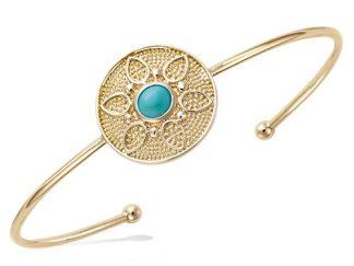 Bracelet jonc or fleur turquoise