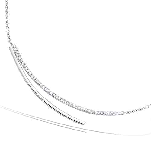 collier argent deux lignes courbes