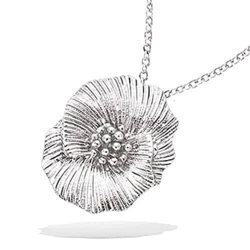 Collier argent fleur texturée