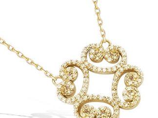 Collier plaqué or arabesque pavée