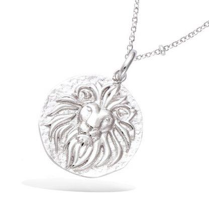 Pendentif argent médaille lion