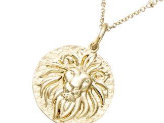 Pendentif or médaille lion