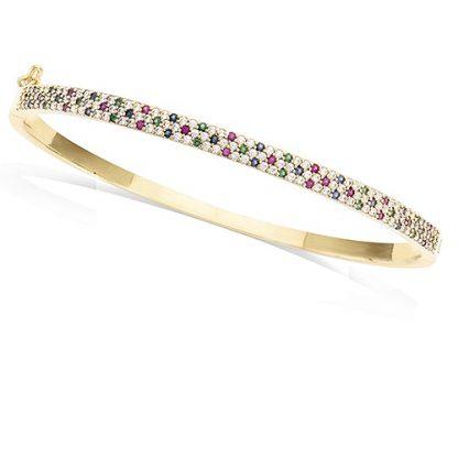 Bracelet jonc or pierre multicolor