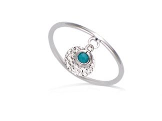Bague argent pampille turquoise