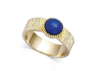 Bague or texturée pierre bleue