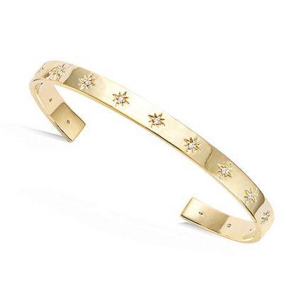 Bracelet jonc or étoiles oxydes
