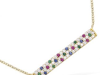 Collier or pierres multicolor