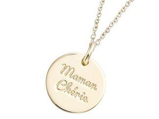 Pendentif or médaille maman chérie