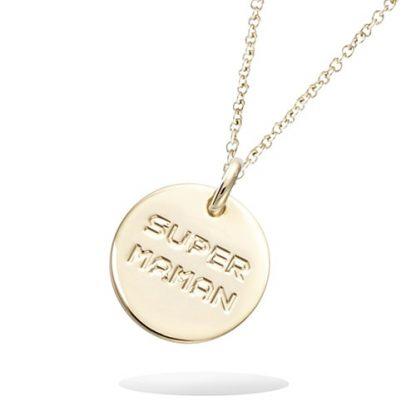 Pendentif or médaille SUPER MAMAN