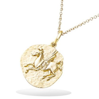 Pendentif or cheval aile