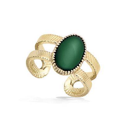 Bague or texturée pierre verte