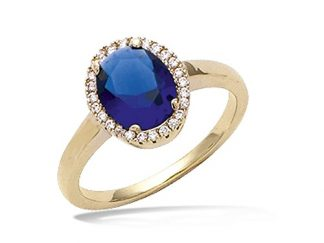 Bague or ovale bleu saphir