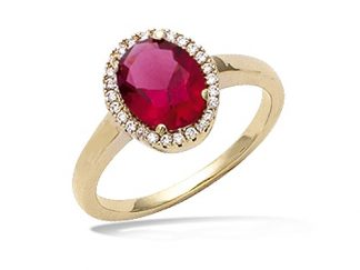 Bague or ovale rubis