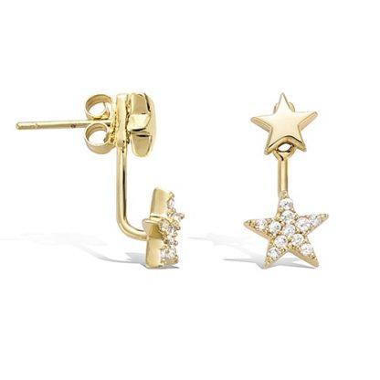 Boucle oreille or deux étoiles