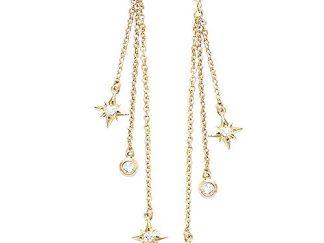 Boucle oreille or pampille étoile