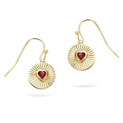Boucle oreille or coeur rouge