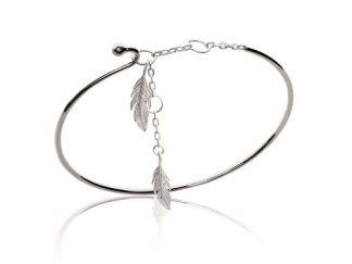 Bracelet jonc argent deux plumes