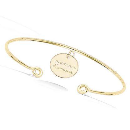 Bracelet jonc or maman d'amour