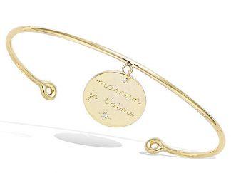 Bracelet jonc or maman je t'aime cz
