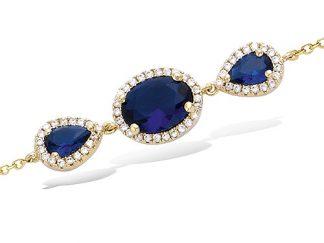 Bracelet or gouttes saphir