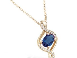 Collier or verre saphir CZ