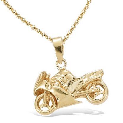 Pendentif or moto grand modèle