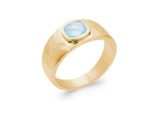 Bague or agate bleue