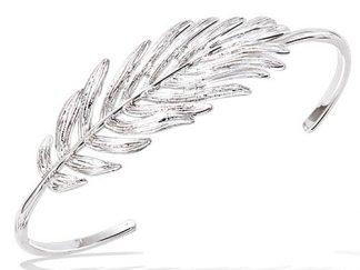 Bracelet jonc argent plume texturé