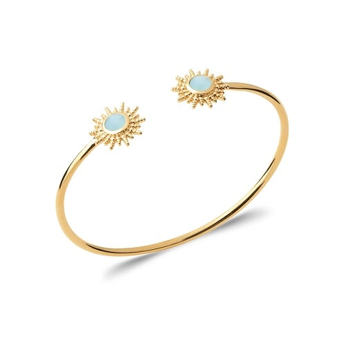 Bracelet jonc or agates bleu