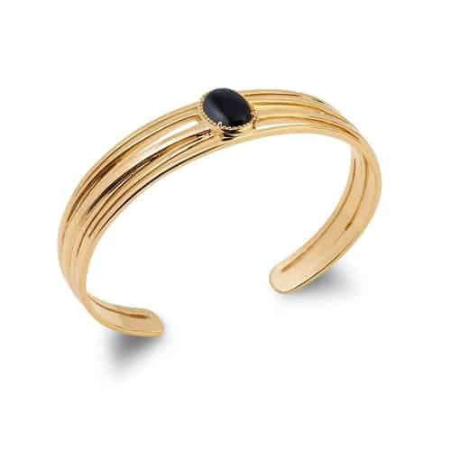 Bracelet jonc or ovale agate noire