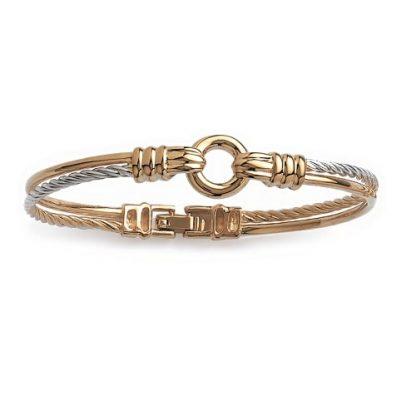 Bracelet jonc or torsade bicolore