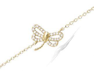 Bracelet or libellule ajourée