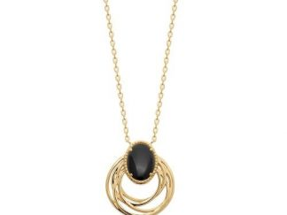 Collier or ovale agate noire