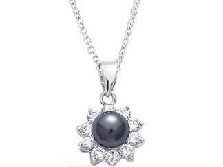 Pendentif argent fleur perle grise