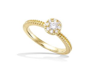 Bague or solitaire oxyde blanc