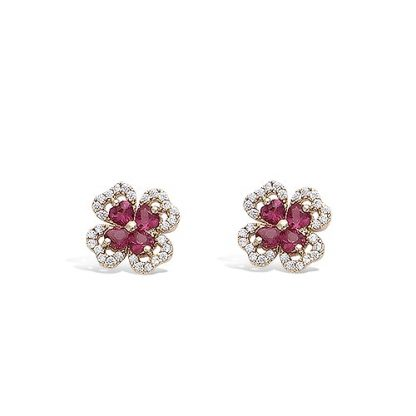 Boucle oreille or trèfle rubis