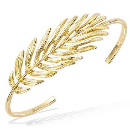 Bracelet jonc or plume texturé