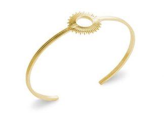 Bracelet jonc or soleil évidé