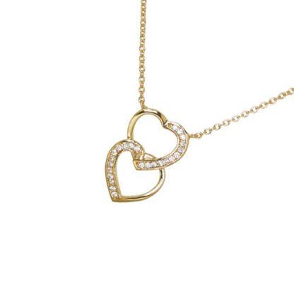 Collier or double coeur superposé