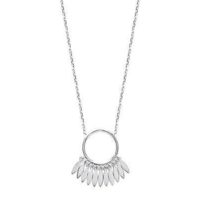 Collier argent anneau plumes