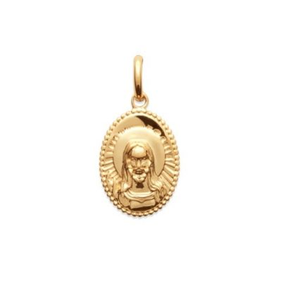 Pendentif or ovale médaille face