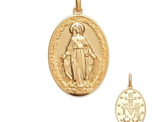 Pendentif or ovale Vierge Marie
