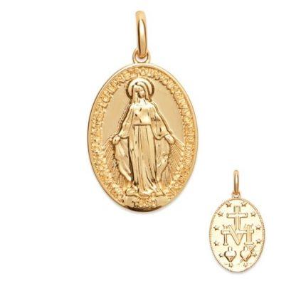 Pendentif or ovale Vierge Marie