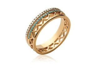 Bague or zigzag OZ saphir