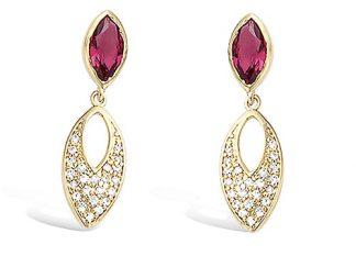 Boucle oreille or amande rubis