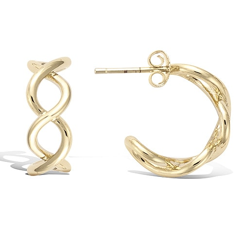 Boucle oreille or torsade lisse