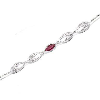 Bracelet argent amande rubis