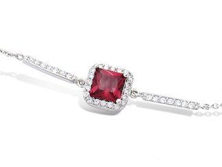 Bracelet argent carré rubis